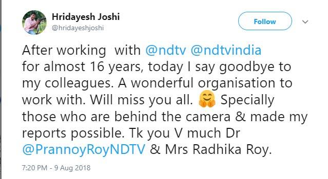 Hridayesh Joshi tweet